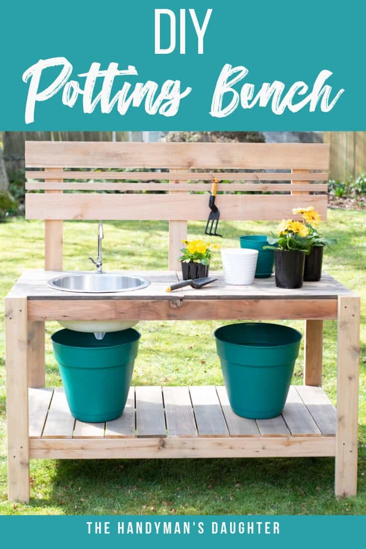 front view of DIY potting bench with sink