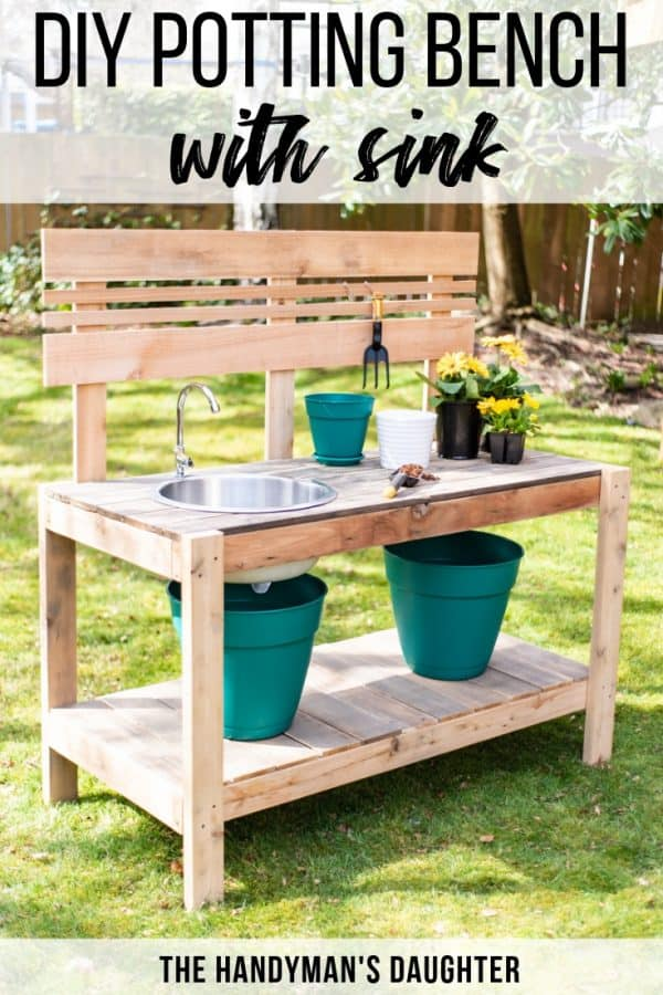 DIY potting bench with sink by The Handyman's Daughter