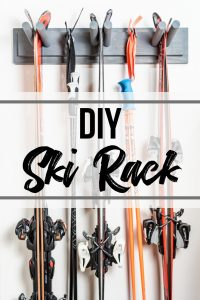 DIY ski rack with text overlay