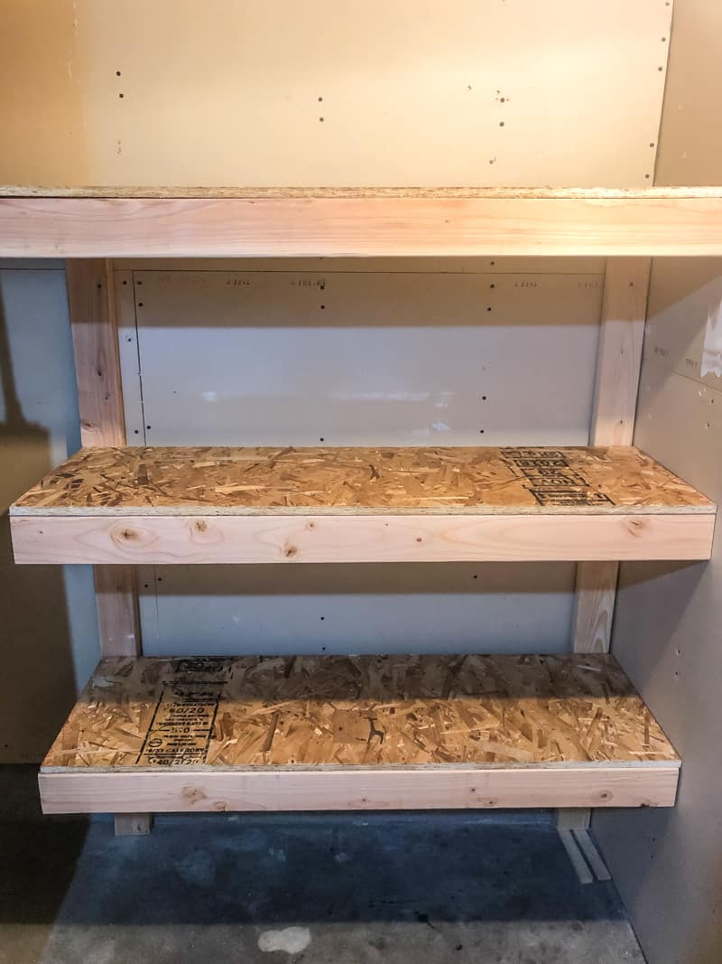 DIY garage shelves with OSB top