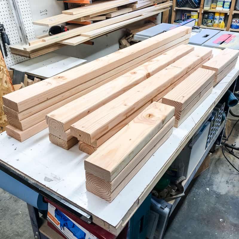 2x4 pieces for garage shelves
