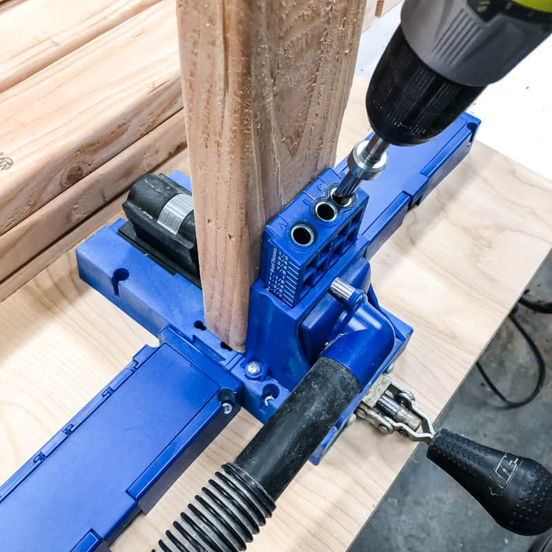 drilling pocket holes in 2x4s for garage shelving