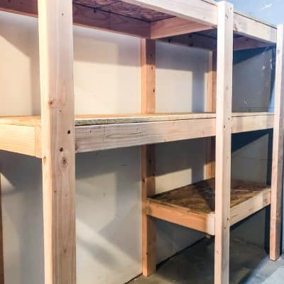 DIY garage shelves completed