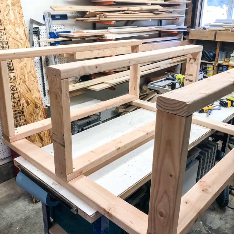 DIY garage shelves frame complete