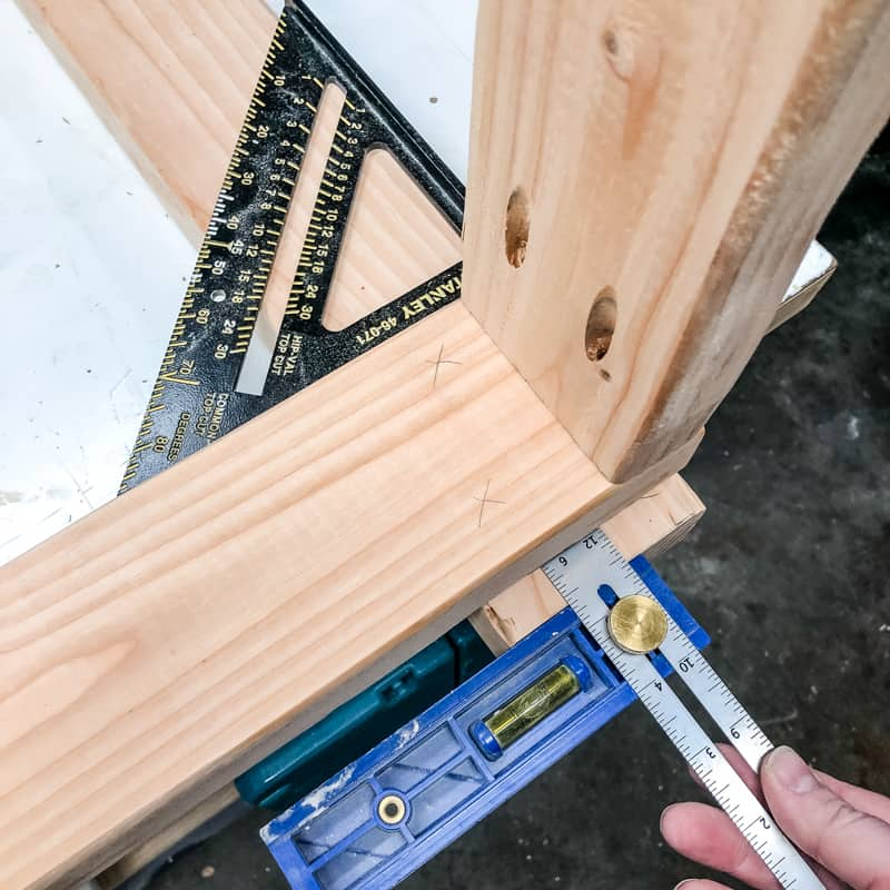 marking placement on 2x4 garage shelves