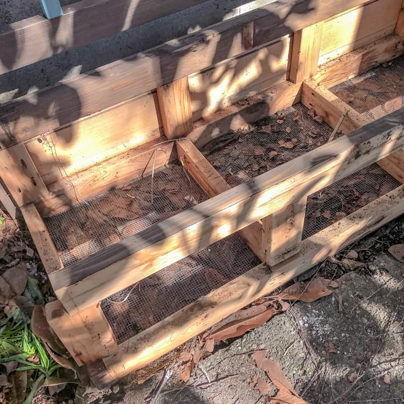 demolition of old outdoor storage bench to reclaim the wood