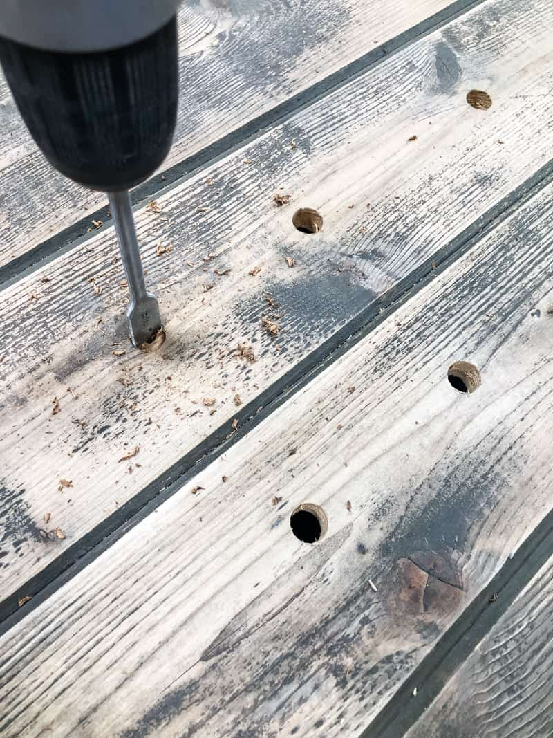 drilling holes in top of DIY potting bench