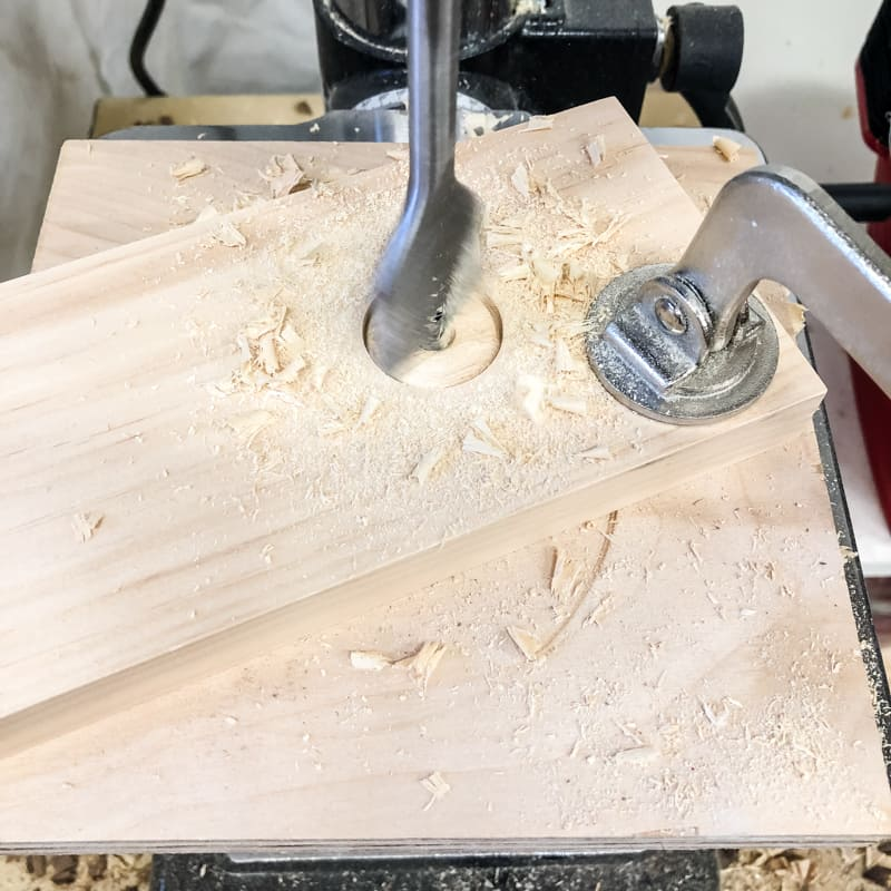 drilling holes for dowels with paddle bit in drill press
