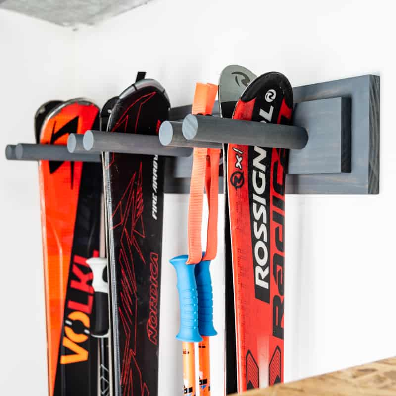 DIY ski rack on garage wall