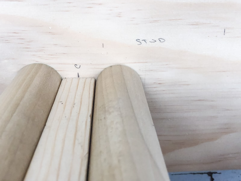 determining spacing of ski rack dowels before drilling