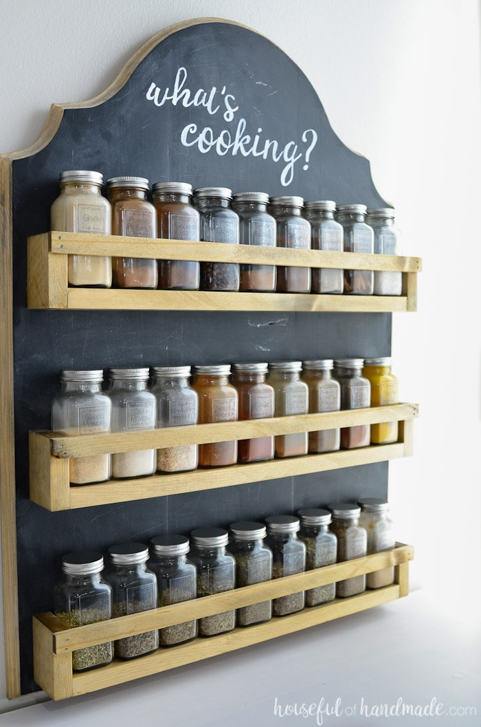 Wooden Spice Rack on Chalkboard