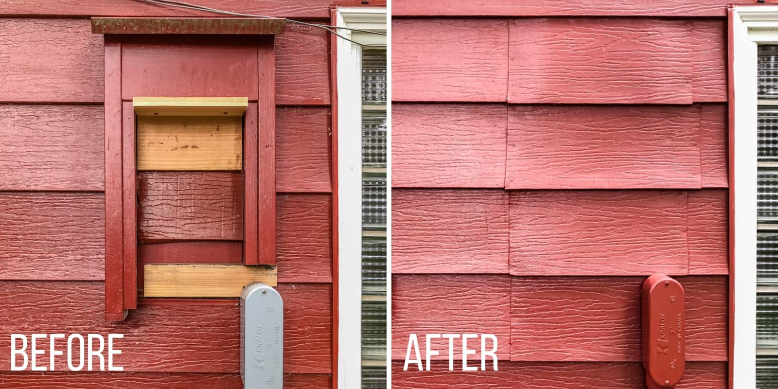 before and after of aluminum siding repair