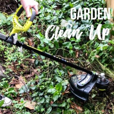 garden clean up with Ryobi string trimmer