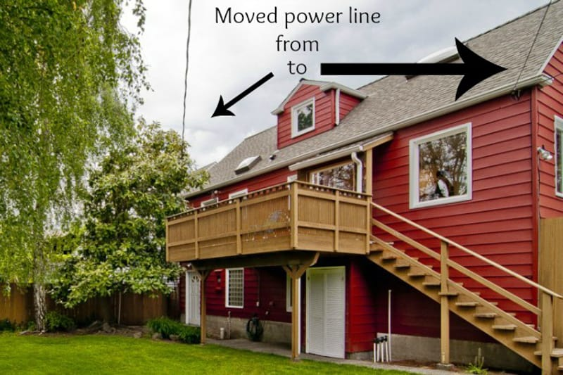 moved power line to avoid sagging line over deck