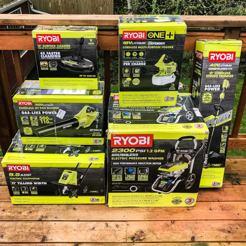 Ryobi Outdoor power tools on wooden deck