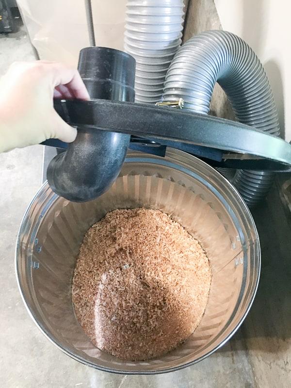 trash can sawdust separator