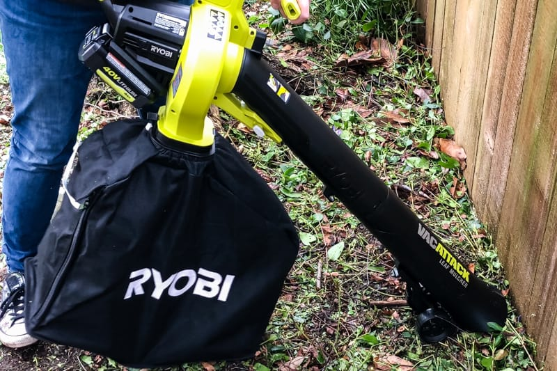 Ryobi Vac Attack leaf mulcher and vacuum in garden bed