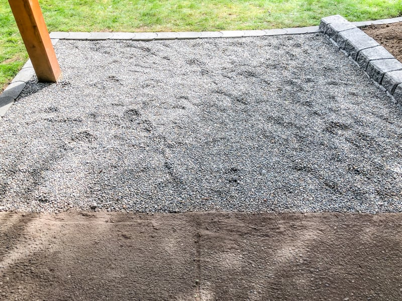 pea gravel patio with concrete paver border
