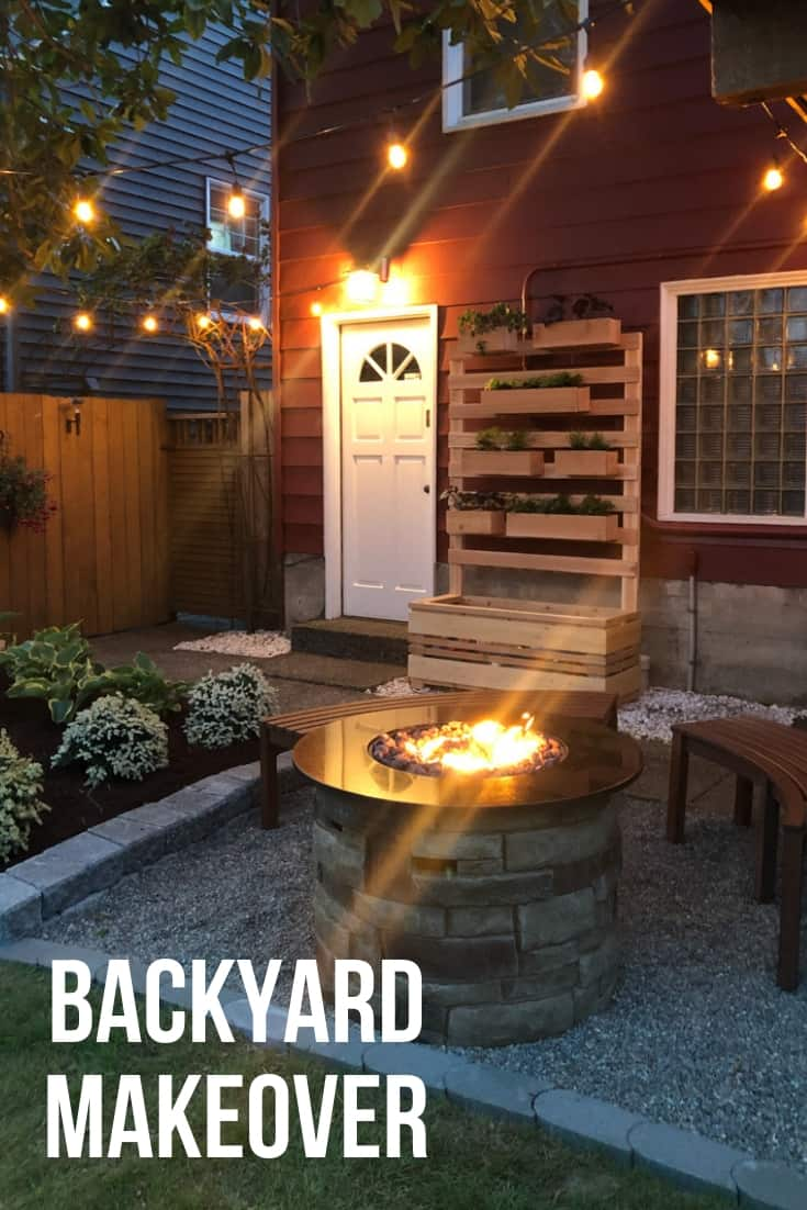Backyard Makeover at dusk with string lights and fire pit