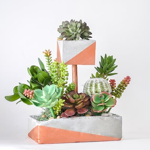 Tiered DIY Concrete Planter with Copper Pipe
