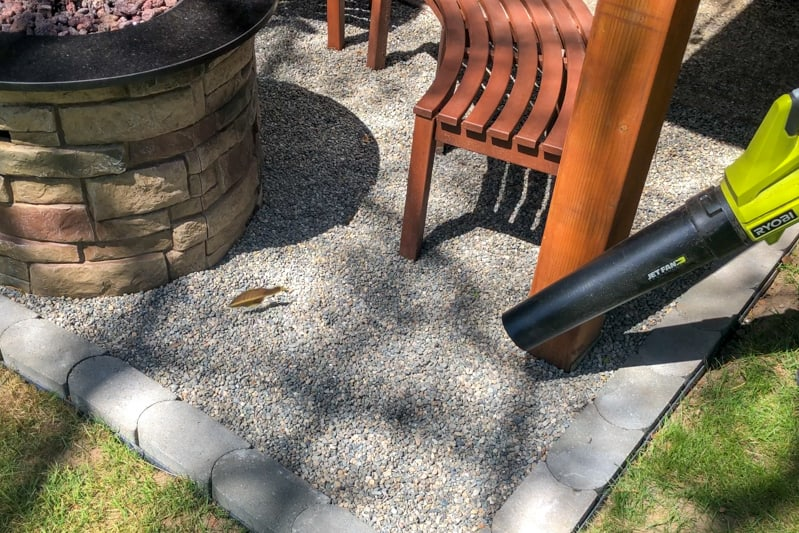 blowing leaves off pea gravel patio