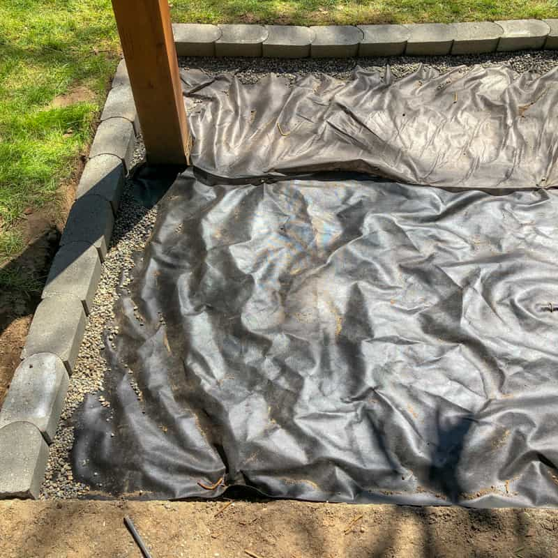 landscaping fabric as base for gravel patio area