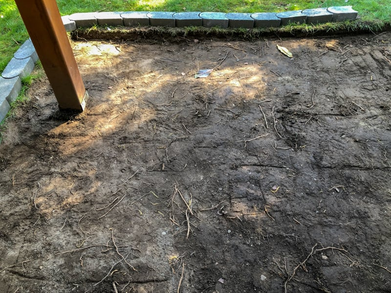 roots scattered throughout pea gravel patio area