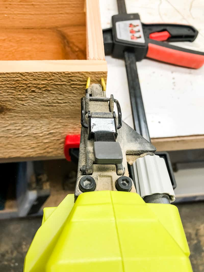 nailing sides of planter box with a Ryobi brad nailer