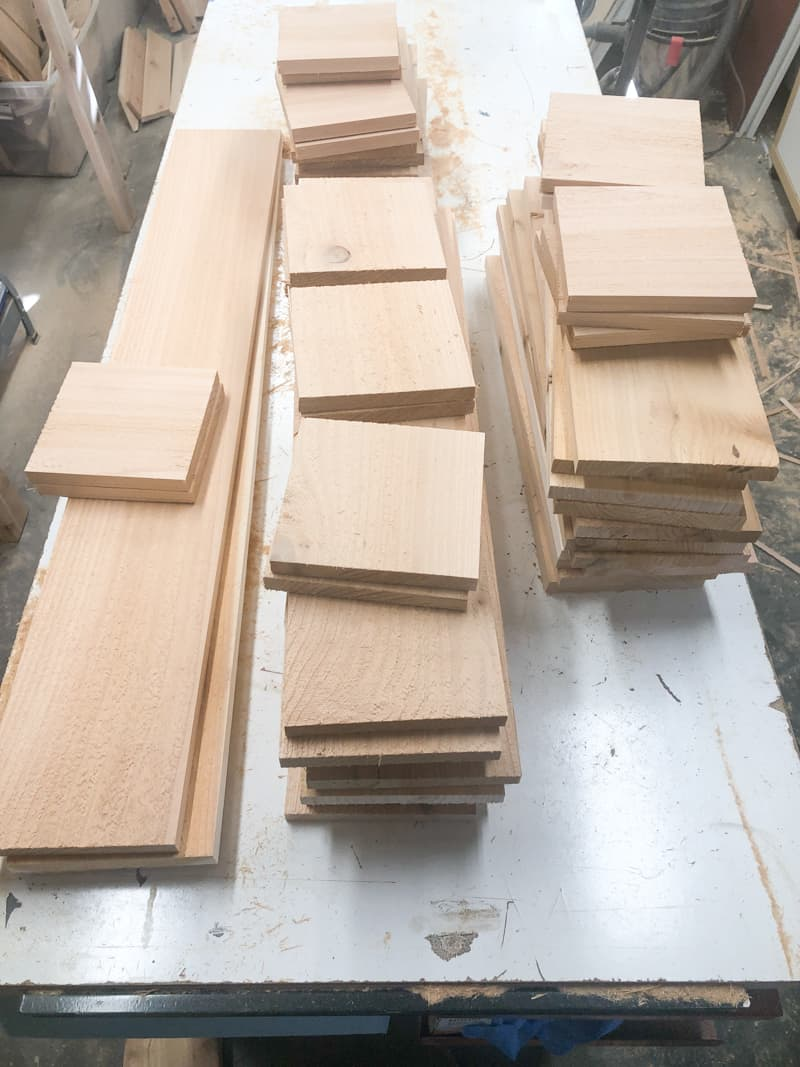 cut pieces for planter boxes