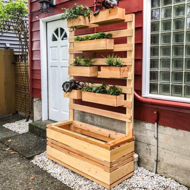 Herb Garden On Fence: DIY Vertical Garden Wall Planter With Plans