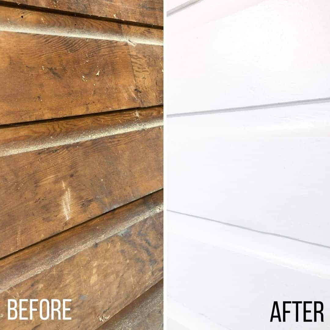 wood paneling before and after painting