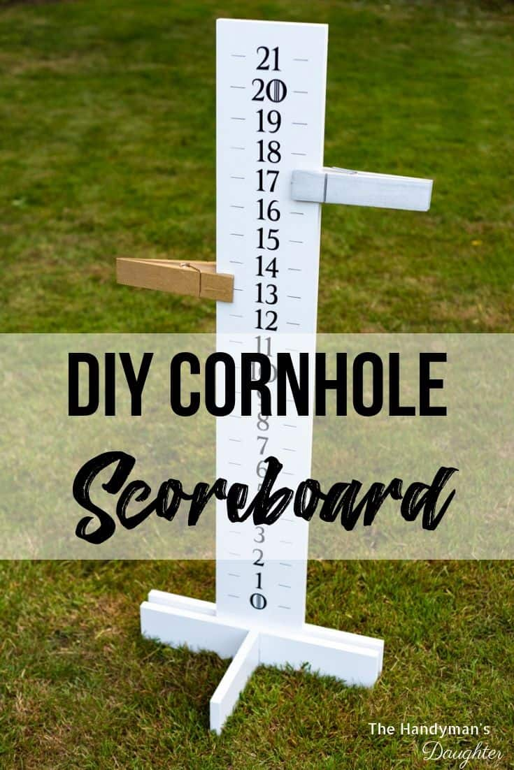 DIY cornhole scoreboard with point markers on sides