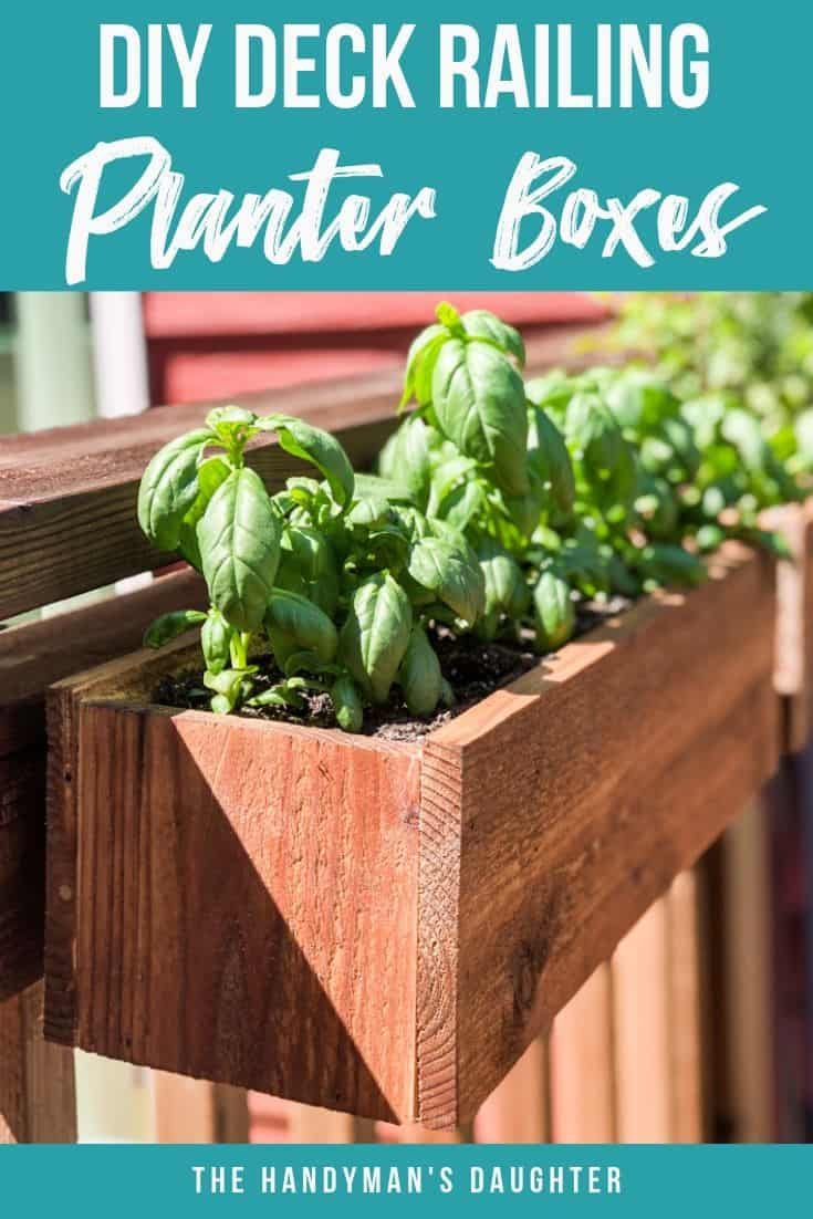 DIY deck railing planter boxes