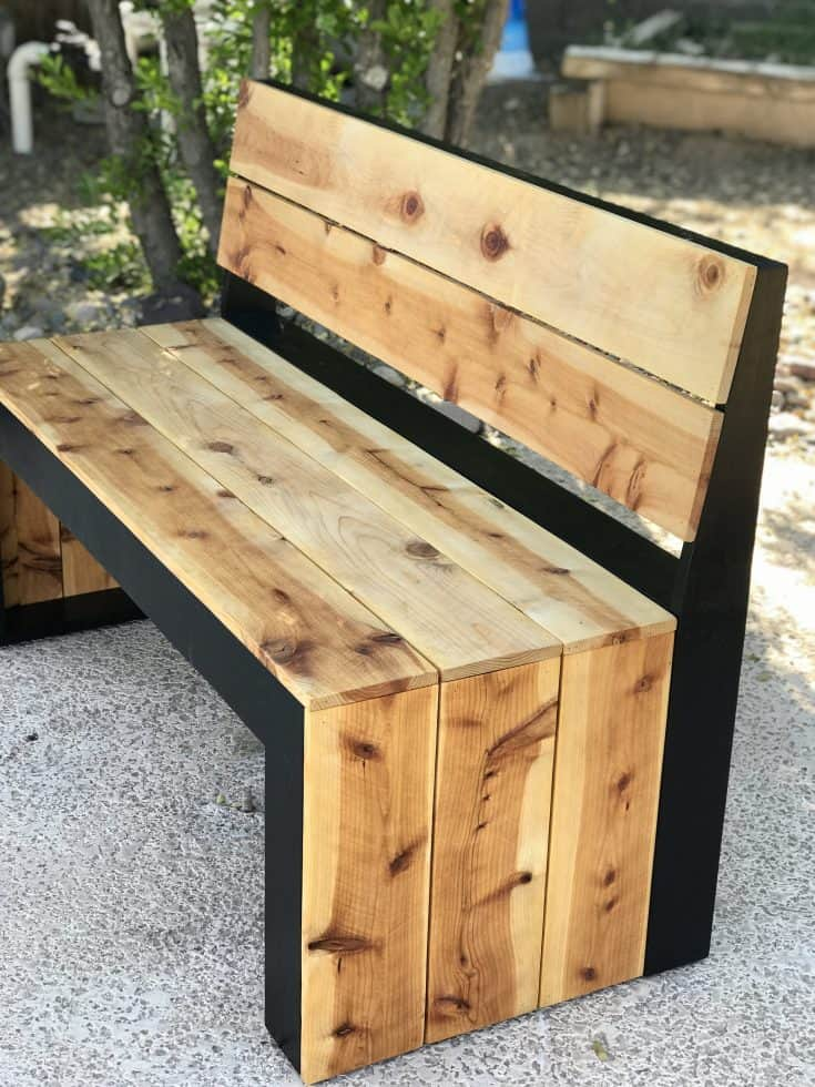 DIY Modern Bench with Back