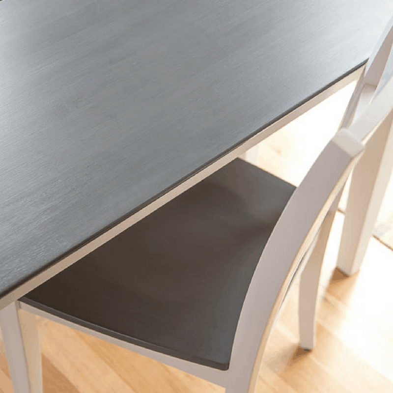 grey wood stain table top with white base