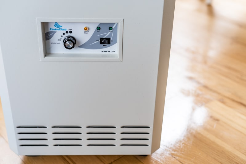 EnviroKlenz air purifier on freshly mopped floor to remove VOCs from household cleaners