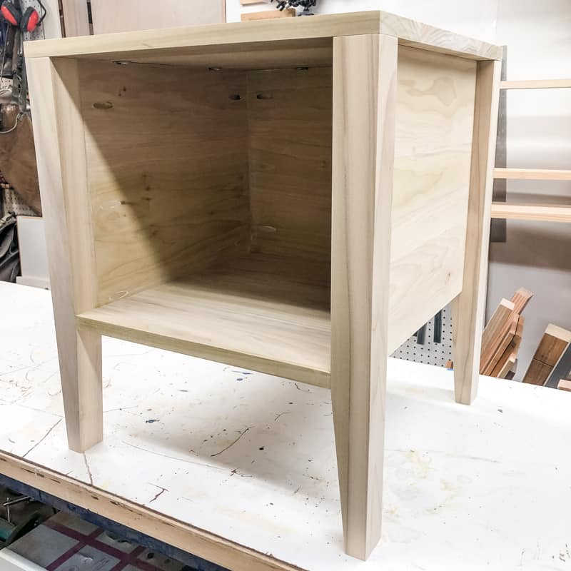 DIY nightstand ready for paint