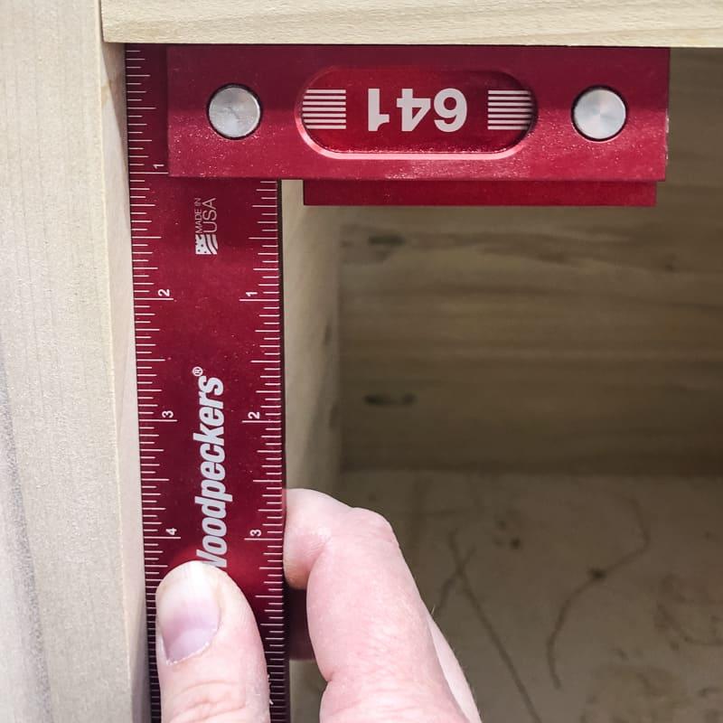 checking for square on bottom shelf of DIY nightstand