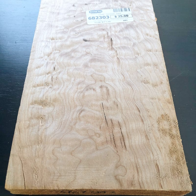 curly maple board for drawer front of DIY nightstand