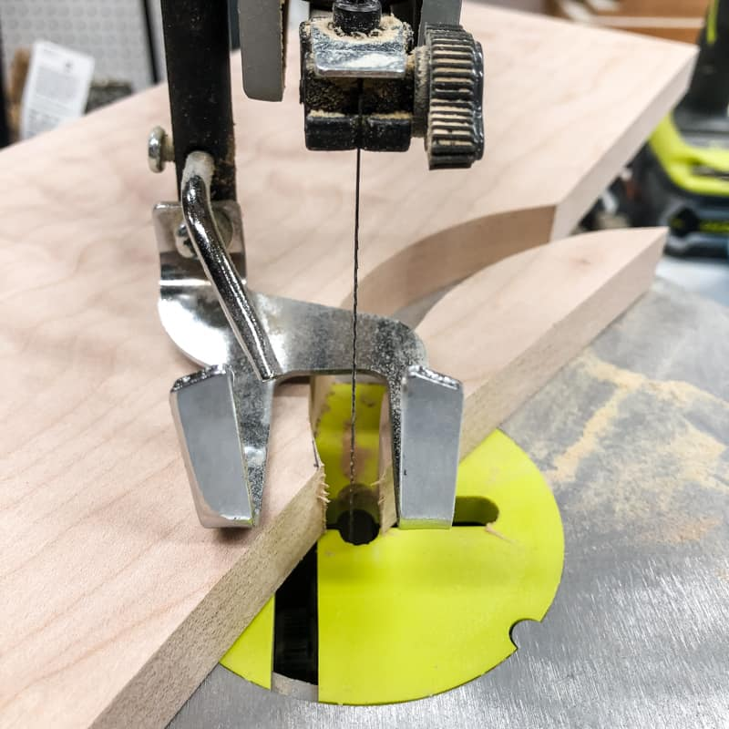 cutting the curve for the drawer pull on a scroll saw