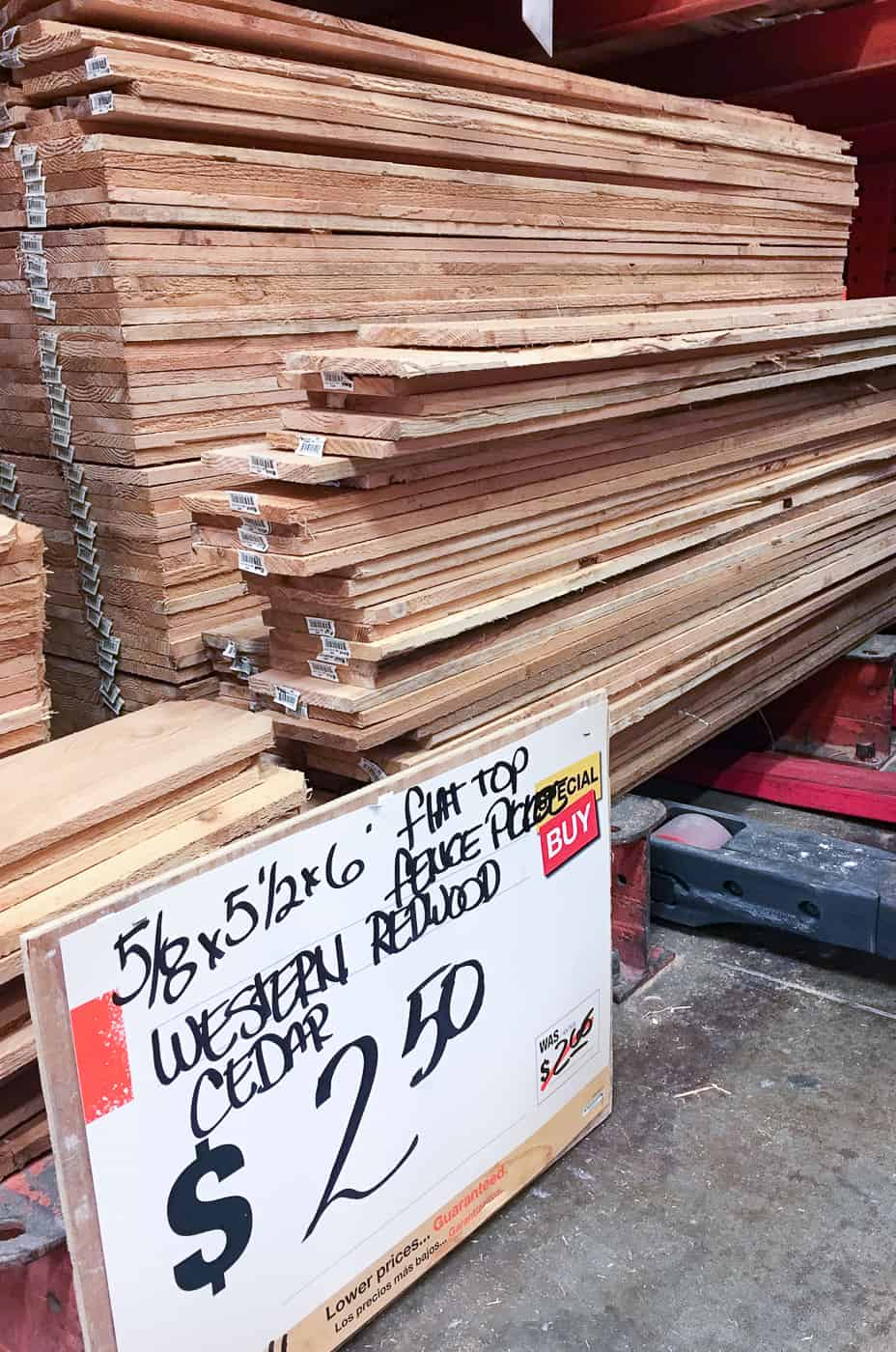 western red cedar fence pickets at Home Depot