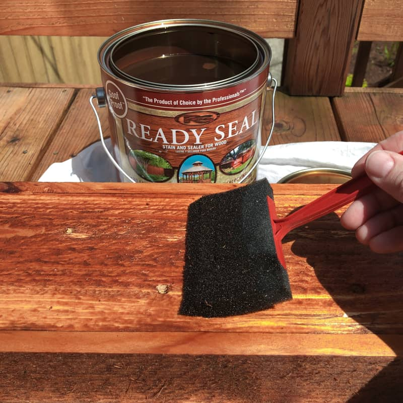 staining railing planters with Ready Seal