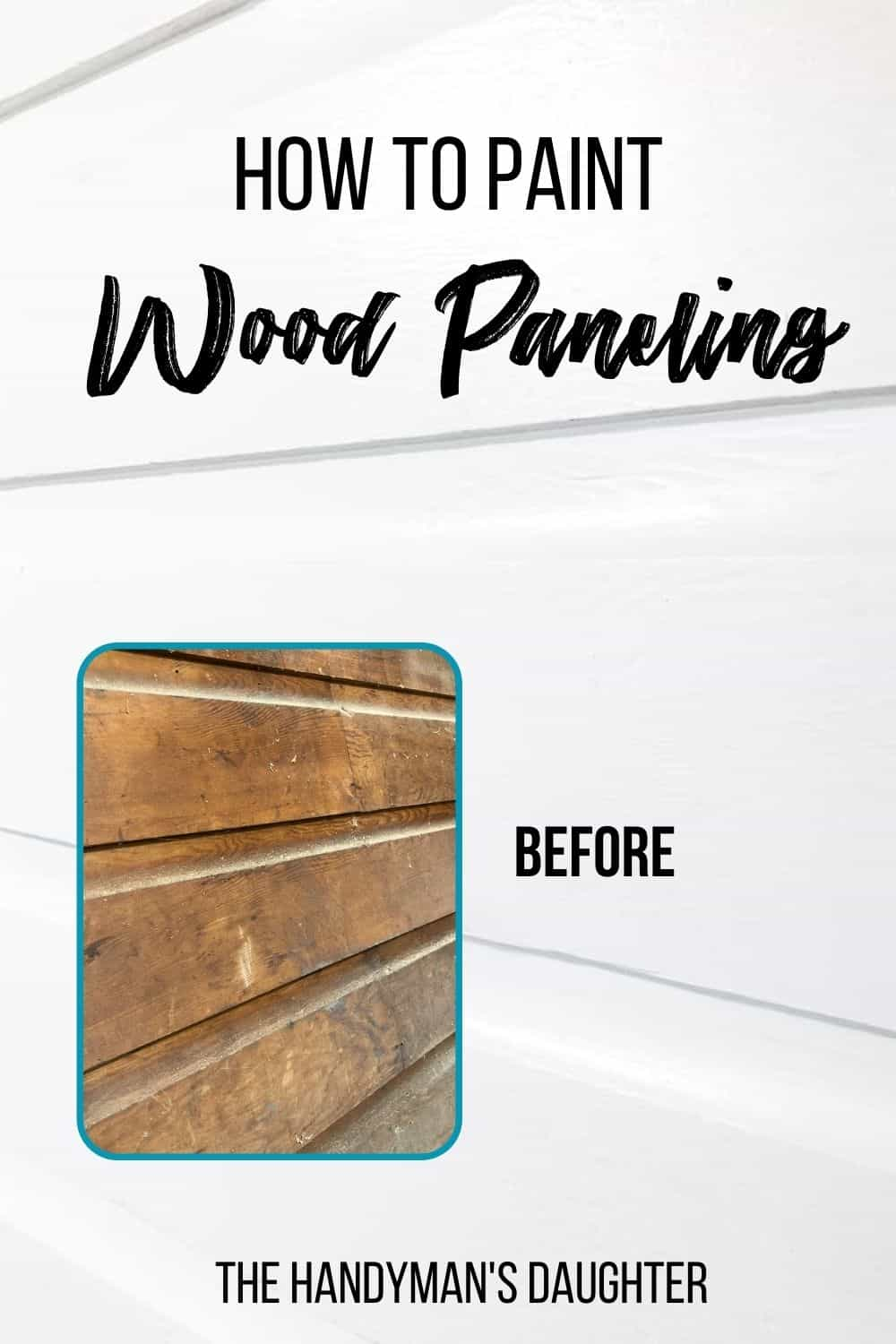 painted wood paneling with before image and text overlay