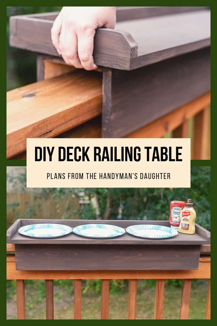 DIY deck railing table with free woodworking plans from The Handyman's Daughter
