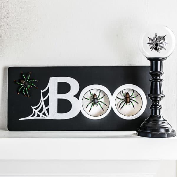 DIY Halloween spider decoration on mantel