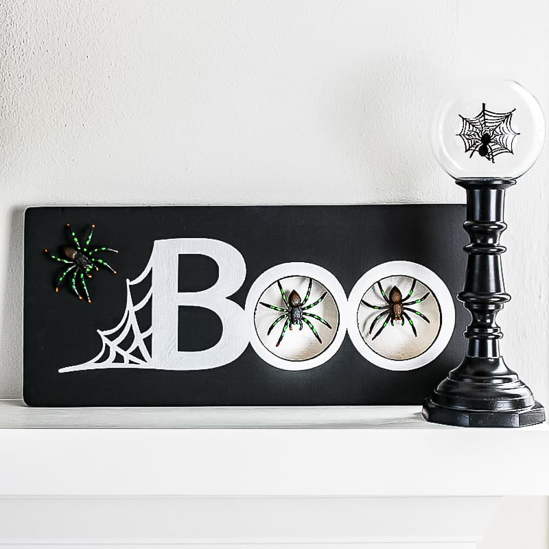 DIY Halloween spider decoration on mantel