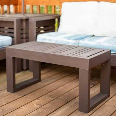DIY outdoor coffee table on deck