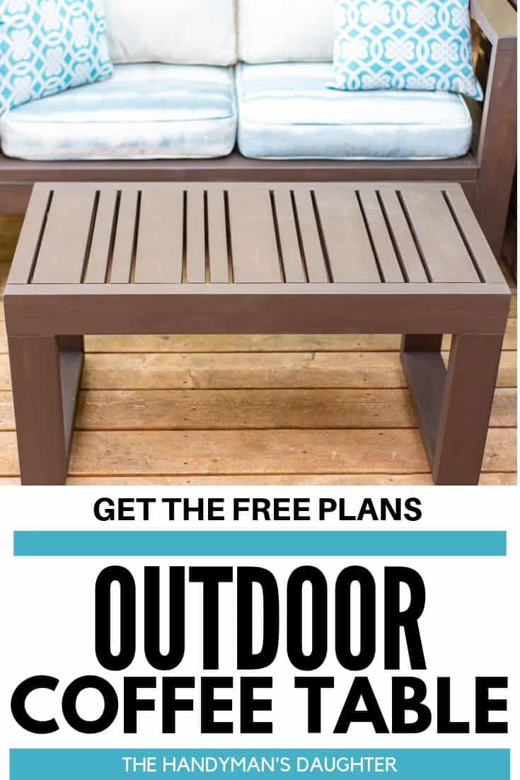 Get the free plans for this outdoor coffee table!