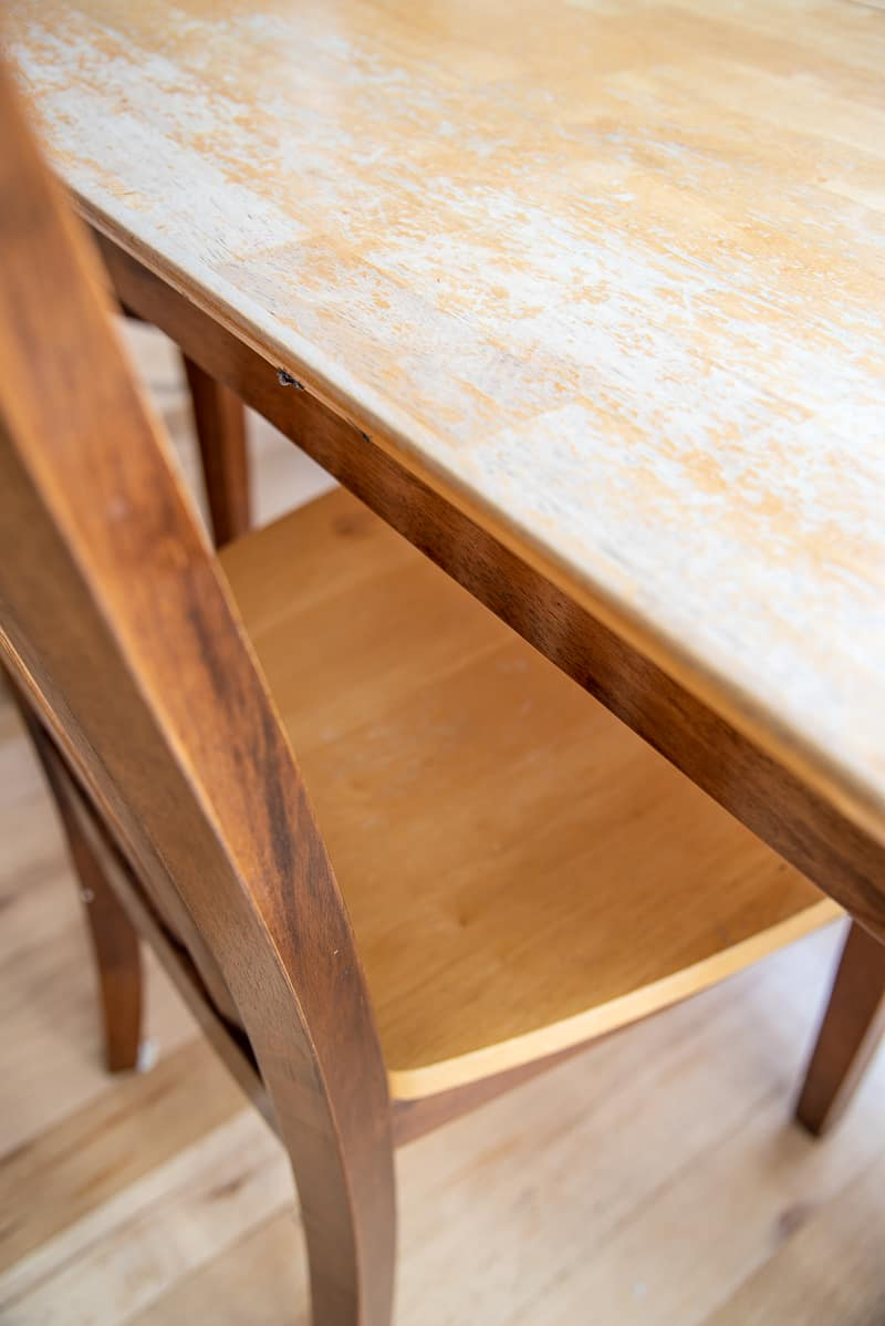 how to refinish a dining table with a damaged top