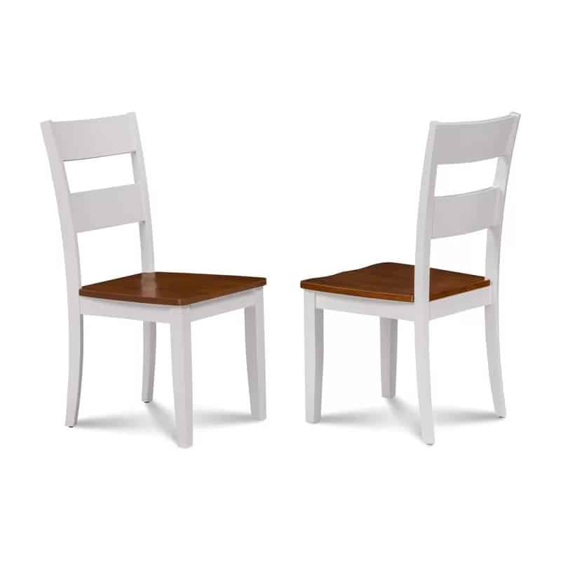 white ladder back chairs with cherry stained seats